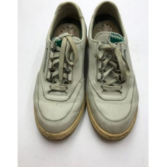 2d13a69f94795 Mephisto White Leather Runoff Lace Up Sneakers